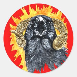 Acuarela del cuervo del aries pegatina redonda