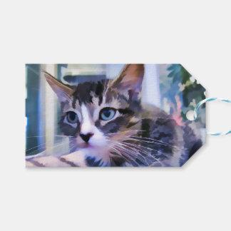 Acuarela del gatito del Tabby Etiquetas Para Regalos