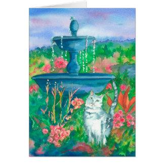 Acuarela del gato que pinta feliz cumpleaños tarjeta de felicitación