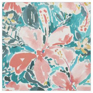 Acuarela del hibisco del coral hola floral tela