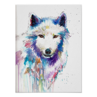 Acuarela del lobo e impresión de la tinta