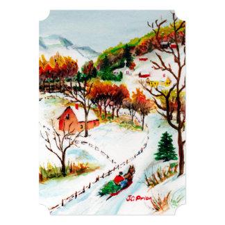 Acuarela del navidad de la montaña del paseo del invitación 12,7 x 17,8 cm