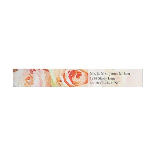 Acuarela del pastel del melocotón etiquetas envolventes de dirección