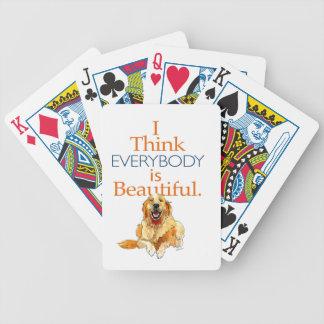 Acuarela del perro del golden retriever cada uno baraja de cartas bicycle