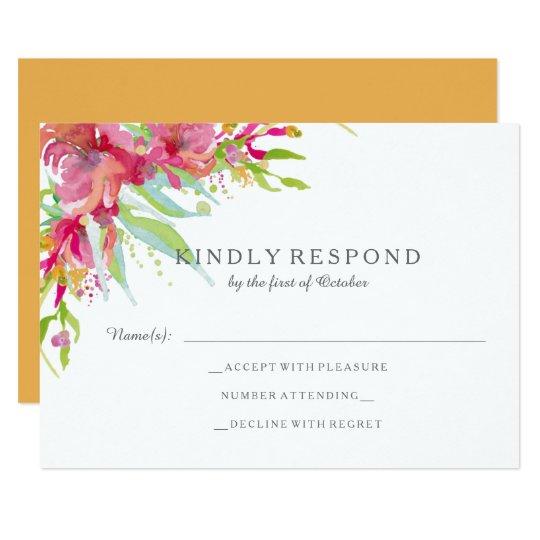 Acuarela dulce RSVP que se casa floral Invitación 8,9 X 12,7 Cm