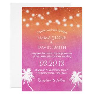 Acuarela elegante de las palmeras del boda de invitación 12,7 x 17,8 cm