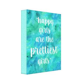 Acuarela feliz de la cita de los chicas en la lienzo
