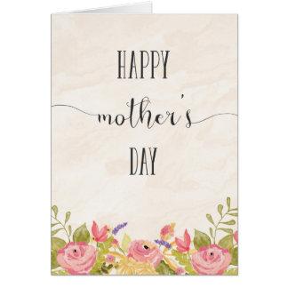 Acuarela feliz de la tarjeta del día de madre de