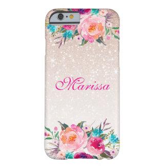 Acuarela floral de Ombre del brillo color de rosa Funda Barely There iPhone 6