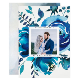 Acuarela floral del recién casado de la TARJETA el