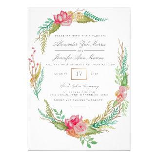 Acuarela floral el   de la primavera que se casa invitación 12,7 x 17,8 cm