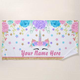 Acuarela floral personalizada de la toalla de