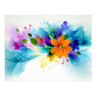 Acuarela floral postal