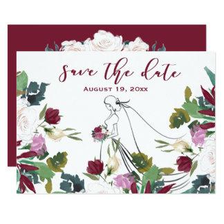 Acuarela floral - tarjeta de la Reserva--Fecha