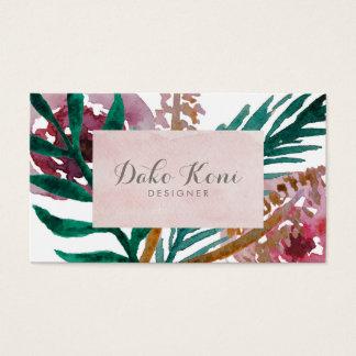 Acuarela floral tarjeta de visita
