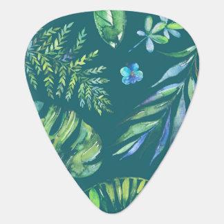 Acuarela hawaiana elegante floral púa de guitarra