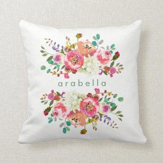 Acuarela hermosa floral con su nombre cojín decorativo
