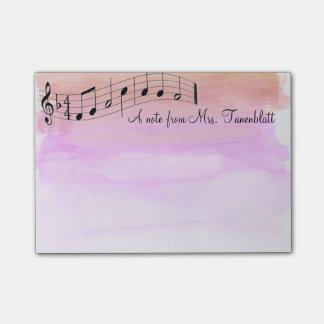 Acuarela musical de la libreta notas post-it®