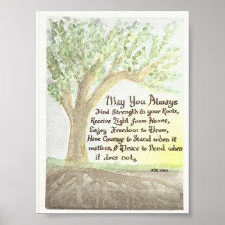 Acuarela original y bendición póster