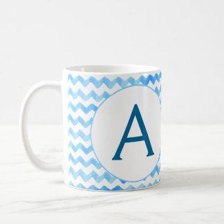 Acuarela personalizada del azul de la taza de café