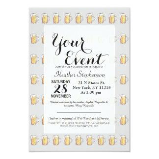 Acuarela pintada fría de la taza de cerveza de invitación 8,9 x 12,7 cm