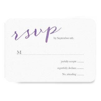 Acuarela pura del amor que casa RSVP/violeta Invitación 8,9 X 12,7 Cm