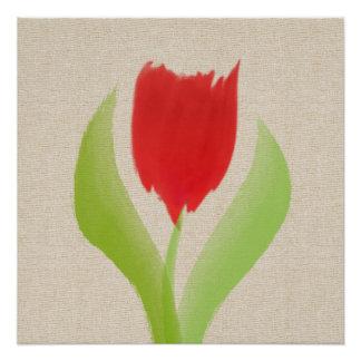 Acuarela roja abstracta del tulipán en el poster