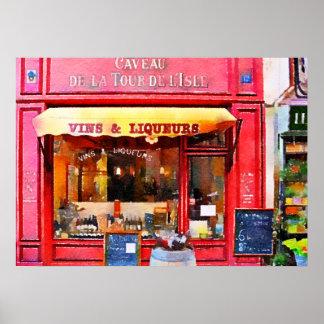 Acuarela roja de la tienda de vino francés póster