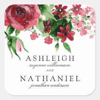 Acuarela roja subió y boda formal de las flores el pegatina cuadrada