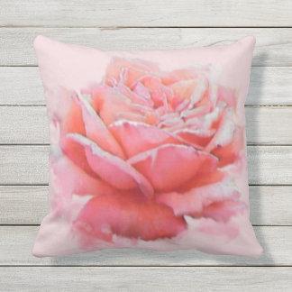 acuarela romántica color de rosa rosada floral cojín decorativo