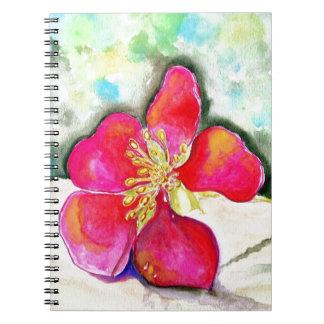Acuarela rosada de la flor del misterio cuaderno