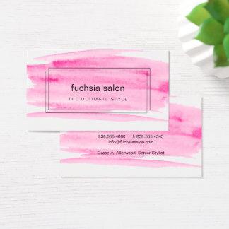 Acuarela rosada encajonada tarjeta de visita