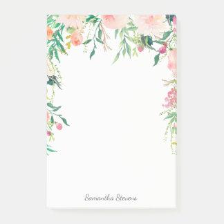 Acuarela rosada femenina floral con su nombre notas post-it®