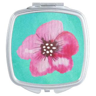 Acuarela rosada romántica del azul de la espejo de viaje