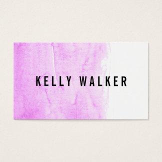 Acuarela rosada y negra mínima tarjeta de visita