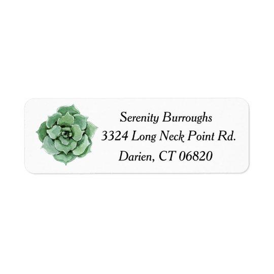 Acuarela suculenta del cactus de la verde menta etiqueta de remitente