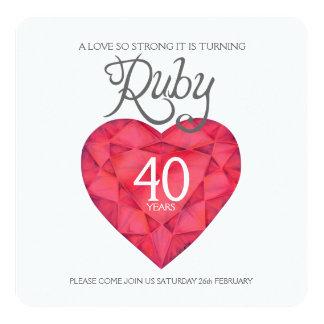 Acuarela tan fuerte de rubíes del corazón del amor invitación 13,3 cm x 13,3cm