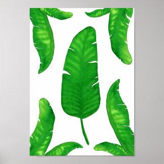 Acuarela tropical de la impresión A4 de las hojas
