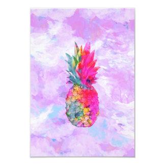 Acuarela tropical de la piña hawaiana de neón invitación 8,9 x 12,7 cm