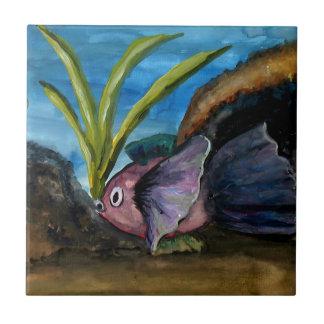 Acuarela tropical de los pescados azulejo de cerámica
