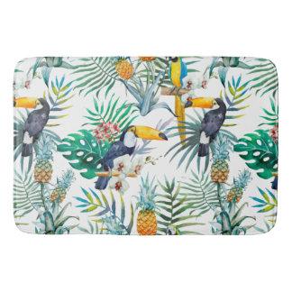 Acuarela tropical del pájaro del loro de la piña alfombrilla de baño