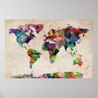 Acuarela urbana del mapa del mundo póster