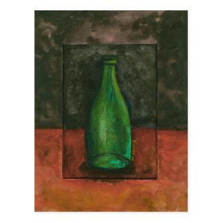 Acuarela verde de la botella de vino postal