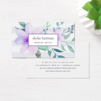 Acuarela violeta y sabia floral tarjeta de negocios