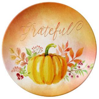 """Acuarelas """"agradecidas"""" de la acción de gracias plato de cerámica"""
