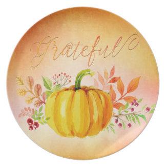 """Acuarelas """"agradecidas"""" de la acción de gracias platos de comidas"""