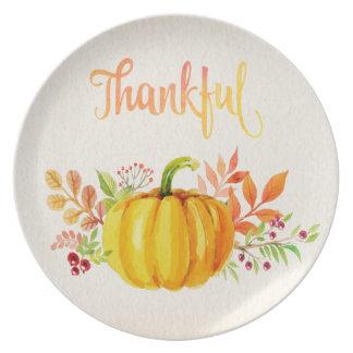 """Acuarelas """"agradecidas"""" de la acción de gracias platos para fiestas"""