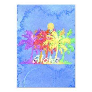 Acuarelas de la palmera de la hawaiana de Hawaiin Invitación 8,9 X 12,7 Cm