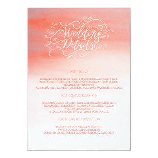 Acuarelas rosadas que casan los detalles - invitación 11,4 x 15,8 cm