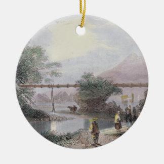Acueducto de bambú en Hong Kong grabado por el an Ornamento Para Arbol De Navidad